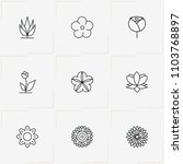 flowers line icon set with rose ... | Shutterstock .eps vector #1103768897