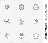 flowers line icon set with... | Shutterstock .eps vector #1103768921