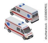 ambulance isometric vector | Shutterstock .eps vector #1103800901
