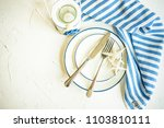 summer marine table setting in... | Shutterstock . vector #1103810111