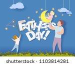 handsome man and his children... | Shutterstock .eps vector #1103814281