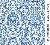 vector seamless floral damask... | Shutterstock .eps vector #1103817401