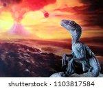 Velociraptor With Volcano...