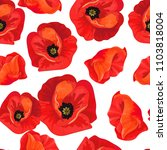 red poppies on a white ... | Shutterstock .eps vector #1103818004