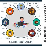 online education flat icons... | Shutterstock .eps vector #1103848157