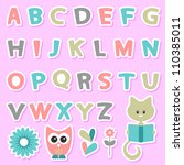cute childish stickers set with ... | Shutterstock .eps vector #110385011