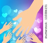 helping hands   helpful hands... | Shutterstock .eps vector #110386151