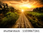 railroad and the sunset edit... | Shutterstock . vector #1103867261