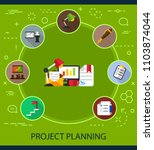project planning flat icons... | Shutterstock .eps vector #1103874044