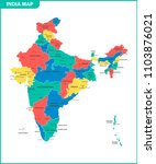 the detailed map of the india... | Shutterstock .eps vector #1103876021