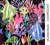watercolor coral reef seamless... | Shutterstock . vector #1103902247