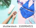 woman beauty product with hands ... | Shutterstock . vector #1103904521