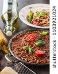 classic italian bolognese sauce ... | Shutterstock . vector #1103921024
