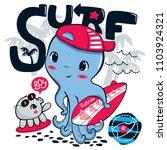 cute surfer octopus wearing hat ... | Shutterstock .eps vector #1103924321