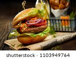 falafel burger with addition of ... | Shutterstock . vector #1103949764