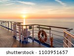 Sunset over the Mediterranean sea from a cruise ship - stock photo
