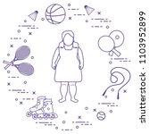 fat girl  badminton rackets and ... | Shutterstock .eps vector #1103952899