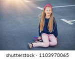 a fashionable little cute girl... | Shutterstock . vector #1103970065