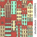 colored city pattern with cute... | Shutterstock . vector #1104000941