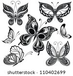 black and white butterflies... | Shutterstock .eps vector #110402699