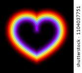 neon glowing rainbow heart ... | Shutterstock .eps vector #1104037751