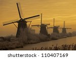 Windmill In Kinderdijk  Holland