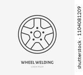 car wheels flat line icon.... | Shutterstock .eps vector #1104081209