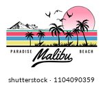 malibu beach theme vector...   Shutterstock .eps vector #1104090359
