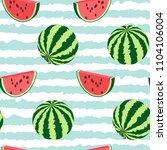 seamless pattern of watermelon ... | Shutterstock .eps vector #1104106004