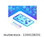isometric smart city in mobile... | Shutterstock .eps vector #1104128231