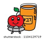 honey jar and a sitting apple... | Shutterstock .eps vector #1104129719