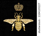 golden embroidery patch bee...   Shutterstock .eps vector #1104135227