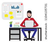 man sitting at table and... | Shutterstock .eps vector #1104135731