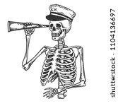 skeleton captain with telescope ... | Shutterstock .eps vector #1104136697