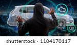 View of a Hacker Man holding an smartcar concept  3d rendering - stock photo