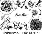 italian pasta frame . hand...   Shutterstock .eps vector #1104180119
