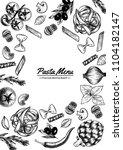 italian pasta frame . hand... | Shutterstock .eps vector #1104182147