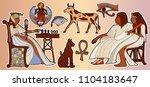 egyptian gods and pharaohs... | Shutterstock .eps vector #1104183647