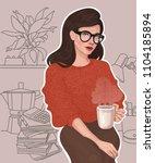 vector beautiful brunette girl... | Shutterstock .eps vector #1104185894