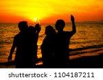 young adult summer beach party... | Shutterstock . vector #1104187211