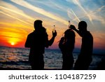 young adult summer beach party... | Shutterstock . vector #1104187259