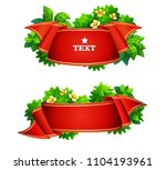 red tape with green leaves on... | Shutterstock .eps vector #1104193961