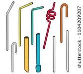 vector set of straw | Shutterstock .eps vector #1104209207