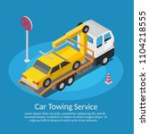isometric low poly tow truck... | Shutterstock .eps vector #1104218555