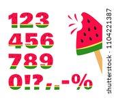 watermelon font  summer numbers.... | Shutterstock .eps vector #1104221387