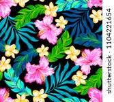 tropical floral seamless vector ... | Shutterstock .eps vector #1104221654
