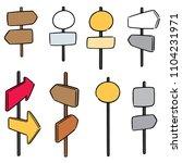vector set of direction post | Shutterstock .eps vector #1104231971