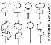 vector set of direction post | Shutterstock .eps vector #1104231974