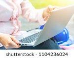 asian young businesswoman... | Shutterstock . vector #1104236024