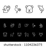 zoo icon set and gorilla with...